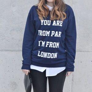 MNG Collection Paris London Blue Crewneck